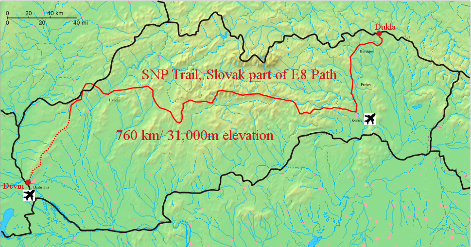 Very basic map of the SNP trail