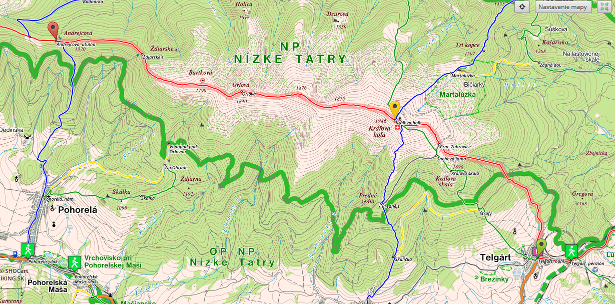 SNP Trail Stage 11 Map, Telgart-Andrejcova