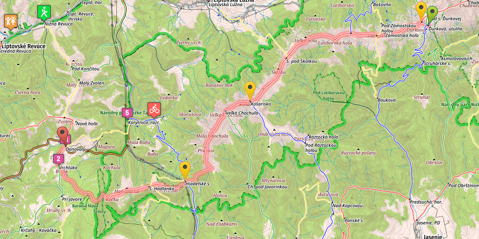 SNP Trail, stage 14, Durkova - Donovaly, map