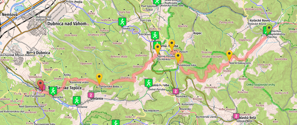 SNP Trail, stage 20, Zliechov - Teplice, map