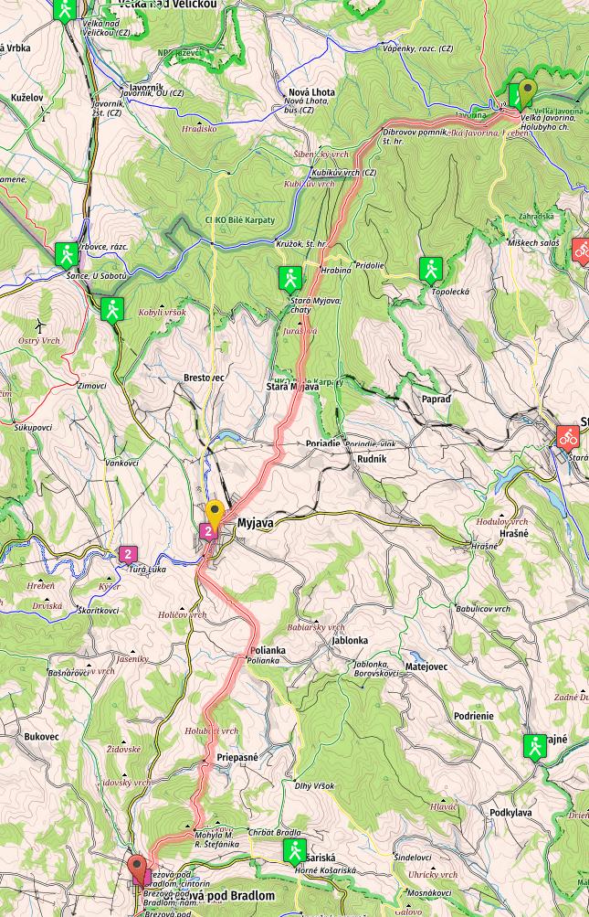 SNP Trail, Stage 23 map, from Javorina to Brezova pod Bradlom