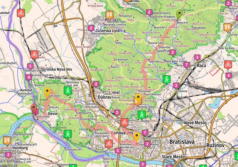 SNP Trail, Stage 27, Biely Kriz - Devin, map