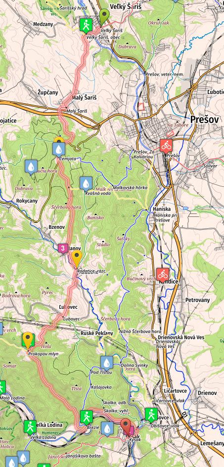 SNP Trail map, stage 5, v. Saris - Kysak